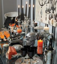 pooky chic buffet table for Halloween styled by home sense