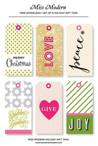 More free printable holiday tags -we can't stop finding gorgeous ones! (These from Miss Modern)