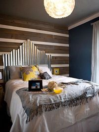 Wood panel and painted headboard