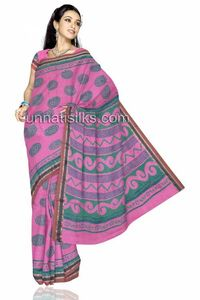 Celebrate this season with a mixed bag of the entire thing. Romantic and Rebellious Play up the soft mood of pastels and sheers with this beautiful pink color madurai cotton saree. This madurai cotton sari has got all over purple and orange block prints...