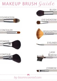 Foundation: A synthetic brush. Can also be used for applying cream blush.  Concealer: A narrow, synthetic brush with a slightly tapered edge.  Powder: A big, soft natural-fiber brush.  Contouring: A soft brush with a flat, angled edge. Also used for...