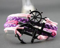 Bracelet Unique Hand Chain Anchor & Helm Bracelet Charm Bracelet Purple and Pink Wax Cords Purple Braided Leathe