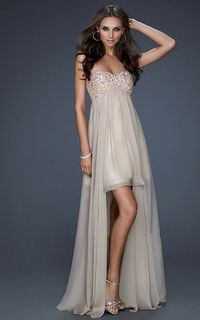 Nude Sequin Top Strapless High to Low Prom Dress