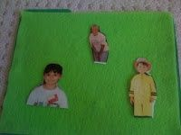 Cut out photos of your kids and back them with felt. Glue flannel onto a file folder for a flannel board if you don't have one. Your kids will enjoy telling stories with pictures of their friends. Great idea from Dr. Jean!