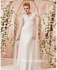 White Sequins Lace V-neck Column Long Prom Dress CYH30399