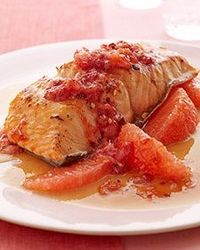 Salmon with Red Grapefruit Relish