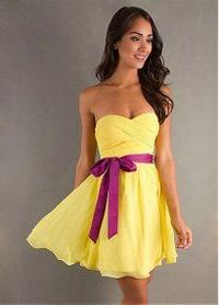2013 Yellow Chiffon With Purple Belt Strapless Short Homecoming