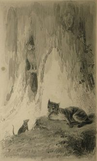 Eugène Louis Lambert Mouse and cat in the forest -