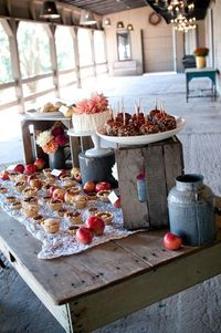 wedding cakes and pies buffet.