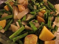 Microwaved Potatoes and Onions with Asparagus--Side or Main