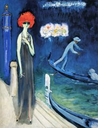 Marchesa Luisa Casati in The Quai, Venice by Kees van Dongen, 1921. (See accompanying Life Magazine photo and article, this board on fashion designer, Norman Norell and his muses standing before this van Dongen painting)