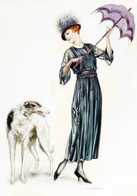 Woman and Dog Charles Gates Sheldon vintage artwork1920s