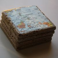 maps of where you've been, modge podge onto stone tiles