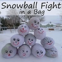 socks as snowballs, shows how to stuff and close up.also link to real ball pattern.