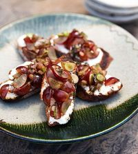 Goat cheese crostini with minted grapes