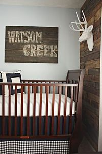 Stain boards & bugger=up to look old. Paint the name of a favorite creek/river the boys have camped at. Oh, and saw how you can make the deer head out of paper mache' somewhere too!