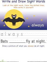 Write and Draw Sight Words printables
