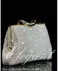 Silver/Gold Rhinestones Purse Clutch Evening Handbag b008