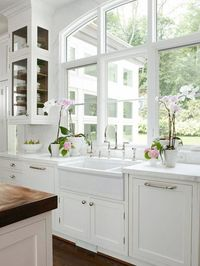 LOVE the windows and the glass on three sides of the cabinet, but I want to see the island top and the room in the back that you see through the windows!!!