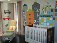 wall mural or basement playroom