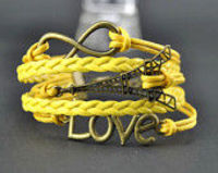 Wholesale Handmade Bracelet, Eiffel Tower Infinity Love Bracelet,yellow rope and imitation Leather Bracelet Antique Br