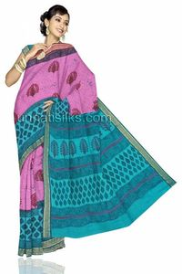 This beautiful pink and blue color madurai cotton saree with the vibrancy of the colors will make you the star of the show. The artistically designed exclusive prints give a luscious look to you. This madurai cotton saree has got all over maroon and bla...