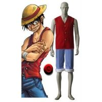 One Piece Red and Blue Luffy Cosplay Costume---CosplayDeal.com