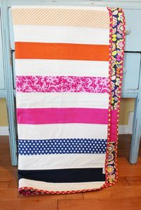 Modern Baby QUILT by PETUNIAS - navy hot pink orange strip stripe blanket nursery decor vintage newborn shower gift room crib bedding. $89.00, via Etsy.