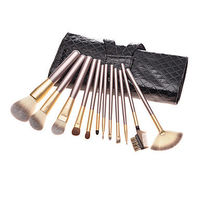12PCS Coffee Handle Cosmetic Brush Set with Diamond Check Leather Pouch