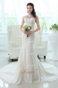 Lace Mermaid High Neck Wedding Dress