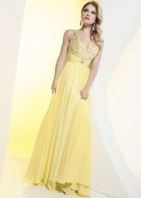 2013 Yellow Sequin Top Spaghetti Strap Long Homecoming Dress on Sale